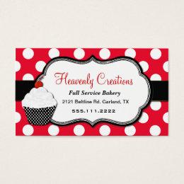 Home bakery business cards templates zazzle whimsical polka dot cupcake bakery business card reheart Choice Image