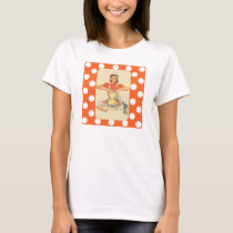 Whimsical Polka Dot Retro Cook T-Shirt