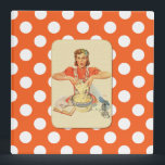 """Whimsical Polka Dot Vintage Cook Recipe Organizer 3 Ring Binder<br><div class=""""desc"""">Fun Orange and white polka dot Avery three ring binder recipe organizer. Cute retro art, on the front and back, shows a comical house wife making dough. White text, on the solid orange spine is ready to personalize to read what you want. Great way to preserve all those clipped out...</div>"""
