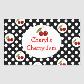 Whimsical Polka Dots and Cherries Label