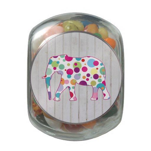 Whimsical Polka dots Elephant Design Glass Jars