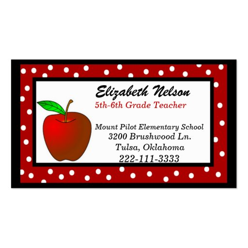 whimsical polka dots teacher u0026 39 s business card