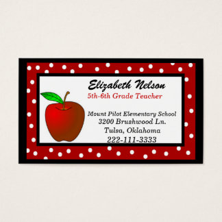 Whimsical business cards templates zazzle whimsical polka dots teacher39s business card reheart Images
