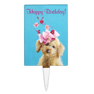 Whimsical Poodle Birthday Cake Topper