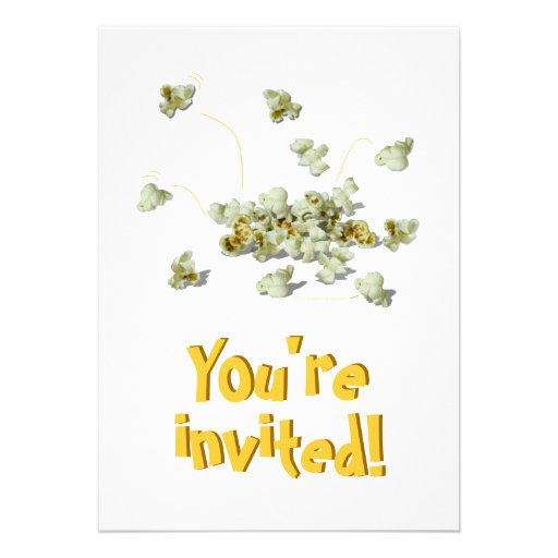 Whimsical Popping Popcorn Party Invites Template