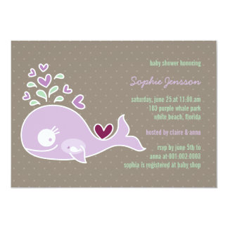 """Whimsical Pregnant Purple Whale Baby Shower Invite 5"""" X 7"""" Invitation Card"""