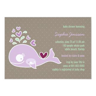 Whimsical Pregnant Purple Whale Baby Shower Invite Invite