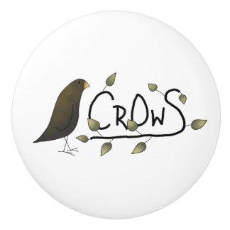 Whimsical Primitive Crow Word Art Drawer Knobs Ceramic Knob