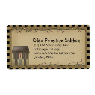 Whimsical Primitive Saltbox House Shipping Label