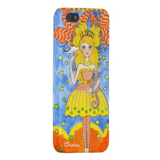 Whimsical Princess with Butterflies and Cat iPhone 5 Cases