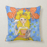 Whimsical Princess with Cat Pillow