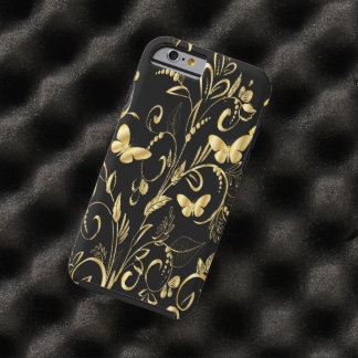 Whimsical Printed Faux Gold Butterflies Tough iPhone 6 Case