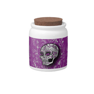 Whimsical printed silver and purple sugar skull candy dishes