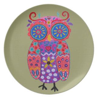 Whimsical Pris Owl Dinner Plate