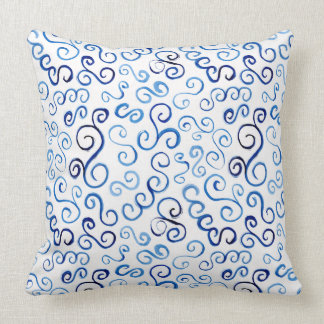 Whimsical Prussian Blue Watercolor Curves Throw Pillow