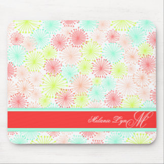 Whimsical Puffs (Spring) Custom Monogram and Name Mouse Pad