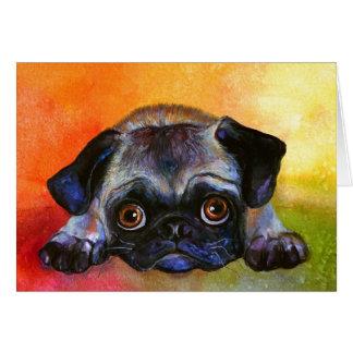 Whimsical Pug Painting #1 Svetlana Novikova Card