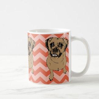 Whimsical Puggle Monochromatic Orange Chevron Mug