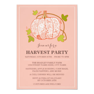 Whimsical Pumpkin Harvest Party Invitation