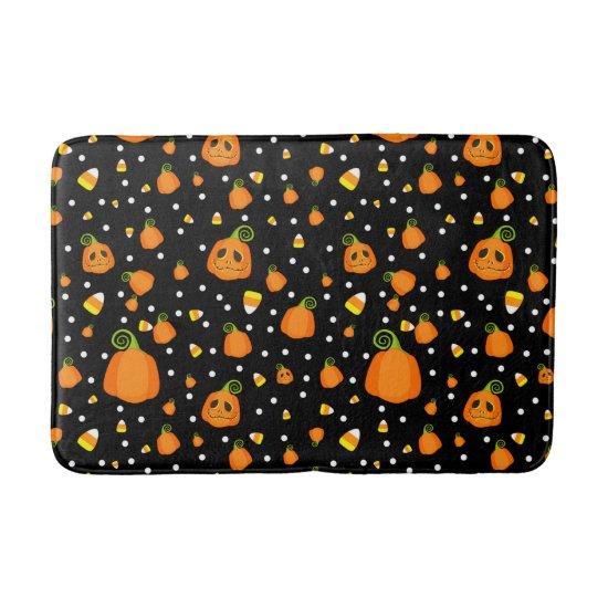 Whimsical Pumpkins & Candy Corn Fun Halloween Bath Mat