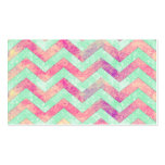 Whimsical Purple Abstract Mint Green Pink Chevron Double-Sided Standard Business Cards (Pack Of 100)