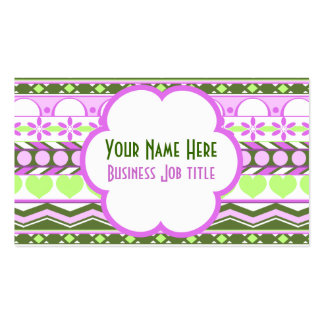 Whimsical purple and green striped aztec pattern Double-Sided standard business cards (Pack of 100)