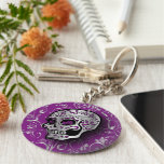Whimsical Purple and Silver Sugar Skull Basic Round Button Keychain