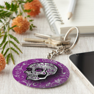Whimsical Purple and Silver Sugar Skull Keychain