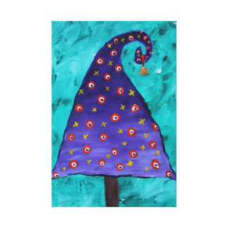 Whimsical Purple Christmas Tree Gallery Wrapped Canvas