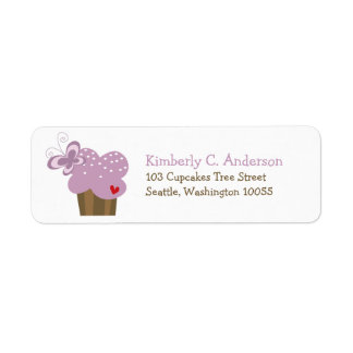 Whimsical Purple Cupcake Butterfly Girl Birthday Return Address Label