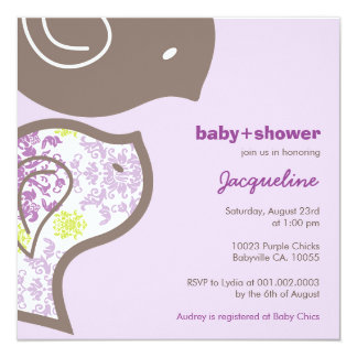 "Whimsical Purple Damask Chicks Baby Shower Invite 5.25"" Square Invitation Card"