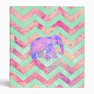 Whimsical Purple Elephant Mint Green Pink Chevron Vinyl Binders
