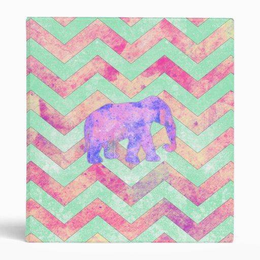 Whimsical Purple Elephant Mint Green Pink Chevron Binder