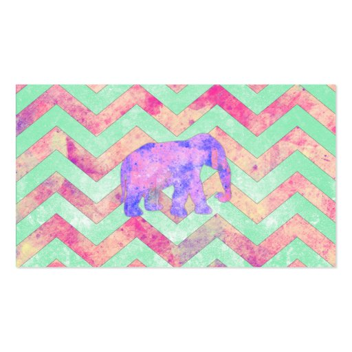 Whimsical Purple Elephant Mint Green Pink Chevron Business Cards