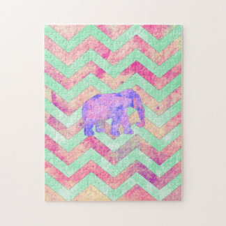 Whimsical Purple Elephant Mint Green Pink Chevron Jigsaw Puzzle
