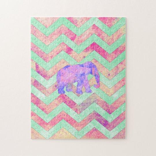 Whimsical Purple Elephant Mint Green Pink Chevron Jigsaw Puzzle