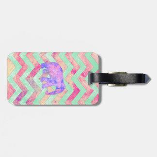 Whimsical Purple Elephant Mint Green Pink Chevron Luggage Tag