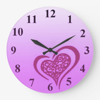 Whimsical Purple Heart Large Wall Clock by Janz