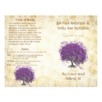 Whimsical Purple Heart Leaf Tree Wedding Program