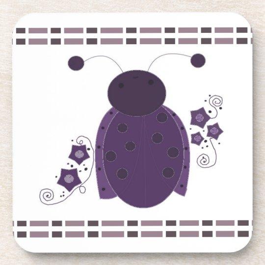 Whimsical Purple Ladybug Coaster