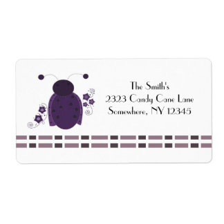 Whimsical Purple Ladybug Label