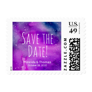 Whimsical Purple Save The Date Postage
