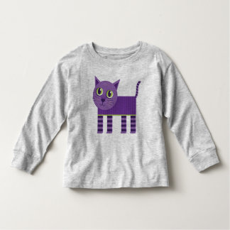 Whimsical Purple Striped Cat Tee Shirt