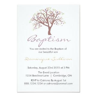 Whimsical Purple Tree   Baptism Invitation