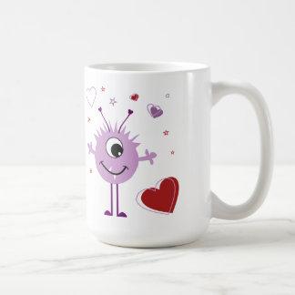 Whimsical Purple Valentine Alien Monster Mug
