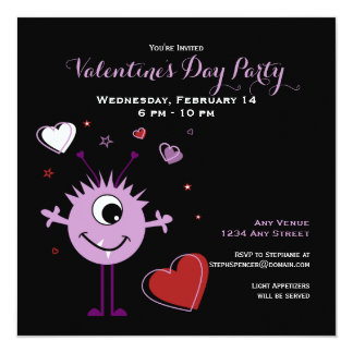 Whimsical Purple Valentine Alien Monster Party Card