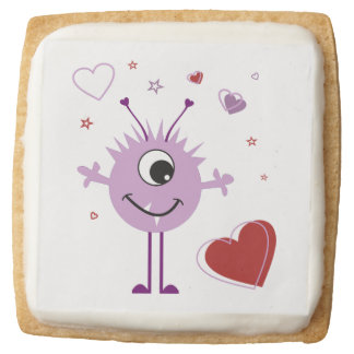 Whimsical Purple Valentine Alien Monster Square Shortbread Cookie