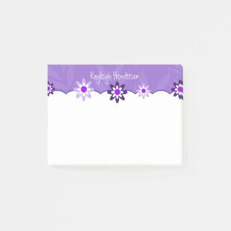 Whimsical Purple White Flowers Personalized Post-it Notes