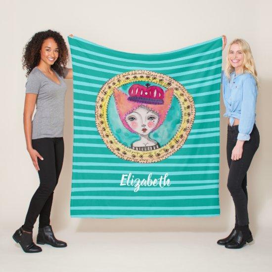 Whimsical Queen Aqua Modern Trendy Blue Stripe Fleece Blanket