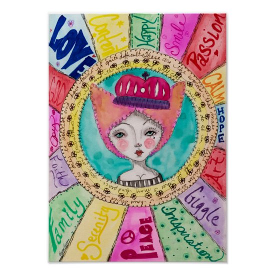 Whimsical Queen Colorful Watercolor Art Cute Fun Poster